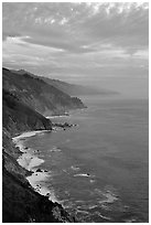 Coast at sunset. Big Sur, California, USA ( black and white)