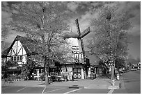 Windmill, Danish village. Solvang, California, USA ( black and white)