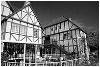 Half-timbered houses, Danish village. Solvang, California, USA ( black and white)