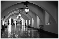 Corridors of the courthouse. Santa Barbara, California, USA (black and white)