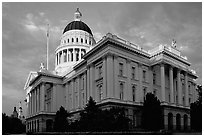 California State capitol, sunset. Sacramento, California, USA ( black and white)