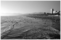 Beach seen from the pier, late afternoon. Santa Monica, Los Angeles, California, USA (black and white)
