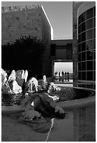 Courtyard, Getty Museum. Brentwood, Los Angeles, California, USA<p>The name <i>Getty Museum</i> is a trademark of the J. Paul Getty Trust. terragalleria.com is not affiliated with the J. Paul Getty Trust.</p> (black and white)