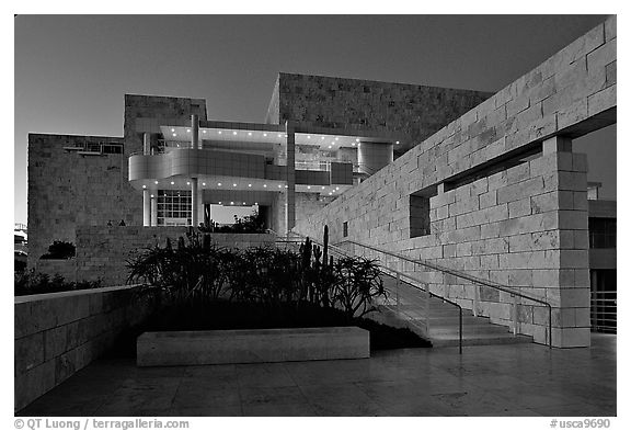 Getty Museum at dusk, Brentwood. Los Angeles, California, USA (black and white)