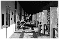 Arcades, Mission San Diego de Alcala. San Diego, California, USA (black and white)