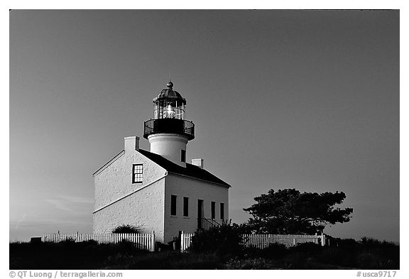 Old Point Loma Lighthouse, dusk. San Diego, California, USA (black and white)