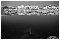 Tufas and Sierra Nevada, winter sunrise. Mono Lake, California, USA ( black and white)
