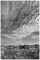 Clouds and Tufa towers, morning. Mono Lake, California, USA (black and white)