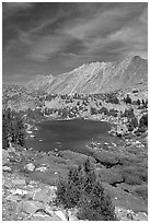 Fishing in small mountain lake, Inyo National Forest. California, USA ( black and white)
