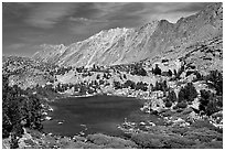 Small Lake, mountain, and fisherman, Inyo National Forest. California, USA ( black and white)