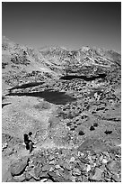 Chain of lakes seen from Bishop Pass, Inyo National Forest. California, USA ( black and white)