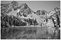 Emerald waters of a mountain lake, Inyo National Forest. California, USA ( black and white)