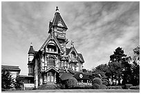 Carson Mansion, the most famous Victorian building of Eureka. California, USA ( black and white)