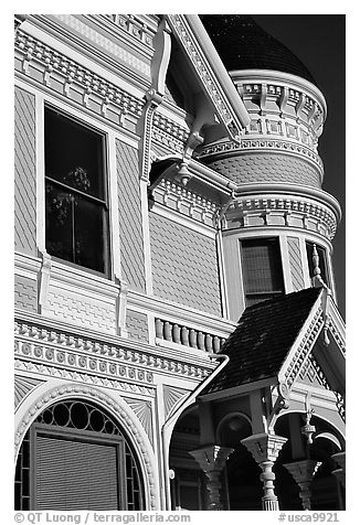 Victorian facade detail of the Pink Lady,  Eureka. California, USA