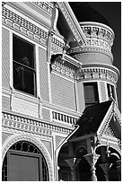 Victorian facade detail of the Pink Lady,  Eureka. California, USA ( black and white)