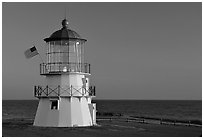 Lighthouse at sunset, Shelter Cove, Lost Coast. California, USA (black and white)