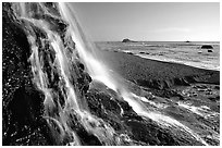 Alamere Falls and beach. Point Reyes National Seashore, California, USA ( black and white)