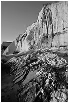 Rocks and Cliff, Sculptured Beach, sunset. Point Reyes National Seashore, California, USA ( black and white)