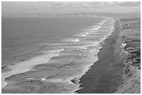 Point Reyes Beach, sunset. Point Reyes National Seashore, California, USA ( black and white)