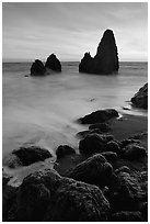 Seastacks, Rodeo Beach, Sunset. California, USA ( black and white)