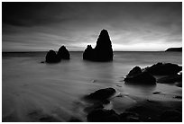 Seastacks, Rodeo Beach, Dusk. California, USA (black and white)