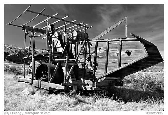 Wooden agricultural machine. California, USA
