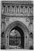 Gate in gothic style, Branford College. Yale University, New Haven, Connecticut, USA ( black and white)