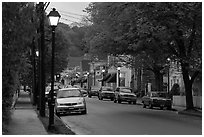 Street and storefronts at dusk, Essex. Connecticut, USA ( black and white)