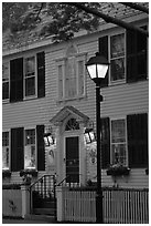 Facade and street light and dusk, Essex. Connecticut, USA (black and white)