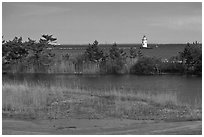 Pond and lighthouse, Old Saybrook. Connecticut, USA (black and white)