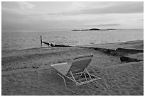 Beach chair at sunset, Westbrook. Connecticut, USA ( black and white)