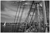 Aboard the Charles Morgan ship. Mystic, Connecticut, USA (black and white)