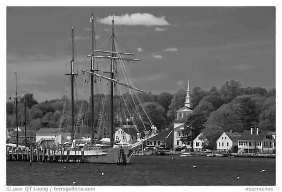 Mystic River, tall ship and village. Mystic, Connecticut, USA