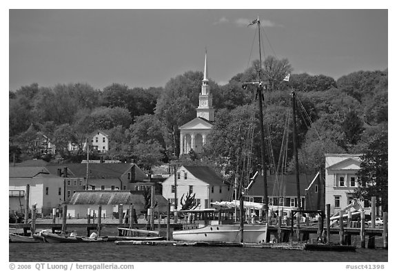 Pier, village and church. Mystic, Connecticut, USA