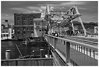 On the Mystic River Bascule Bridge. Mystic, Connecticut, USA (black and white)