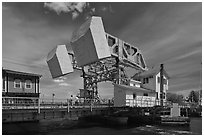 Counterweights of the Mystic River drawbridge. Mystic, Connecticut, USA (black and white)