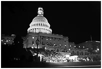 Live concert on the steps of the Capitol at night. Washington DC, USA ( black and white)