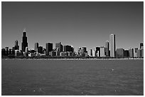 Skyline of the city above Lake Michigan, morning. Chicago, Illinois, USA ( black and white)