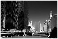 Chicago River flowing through downtown. Chicago, Illinois, USA ( black and white)