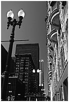 Lamp and buildings. Chicago, Illinois, USA (black and white)