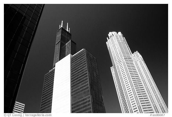 Sears tower and other skyscrappers towering in the sky. Chicago, Illinois, USA
