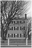 Bare trees and Hawkes House, Salem Maritime National Historic Site. Salem, Massachussets, USA ( black and white)