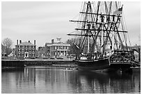 Sail ship and waterfront, Salem Maritime National Historic Site. Salem, Massachussets, USA ( black and white)