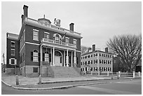 Custom House and Hawkes House, Salem Maritime National Historic Site. Salem, Massachussets, USA (black and white)