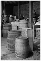 Interior of public stores warehouse, Salem Maritime National Historic Site. Salem, Massachussets, USA ( black and white)