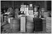 Chests and barrels, public stores, Salem Maritime National Historic Site. Salem, Massachussets, USA ( black and white)