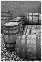 Barrels outside public stores, Salem Maritime National Historic Site. Salem, Massachussets, USA ( black and white)