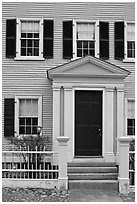 Entrance door, Hawkes House, Salem Maritime National Historic Site. Salem, Massachussets, USA ( black and white)