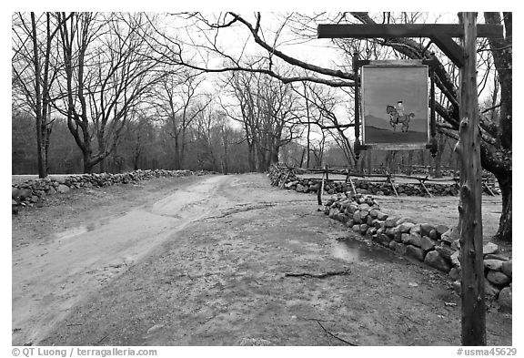 Battle Road Trail and tavern sign, Minute Man National Historical Park. Massachussets, USA