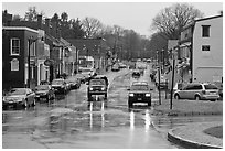 Main street in the rain, Concord. Massachussets, USA (black and white)